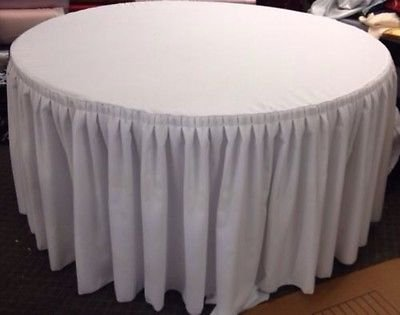 Round Pleated Skirt - 60 inch Round Table Skirt Double Pleated Table Cover Polyester with Top Topper White