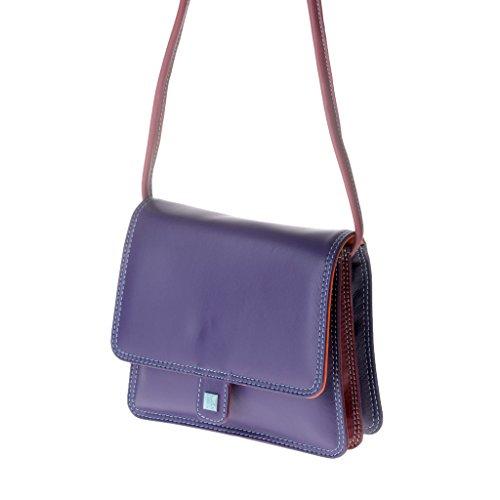 Kleine mehrfarbige Umhängetasche und Überschlag in weichem Leder von DuDu Violett