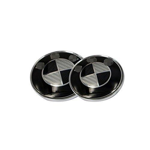 New 2pcs Black Carbon Fiber 82mm Hood & 74mm Trunk Glossy Round Replacement Emblem Logo Badge For BM Wheel Car Design