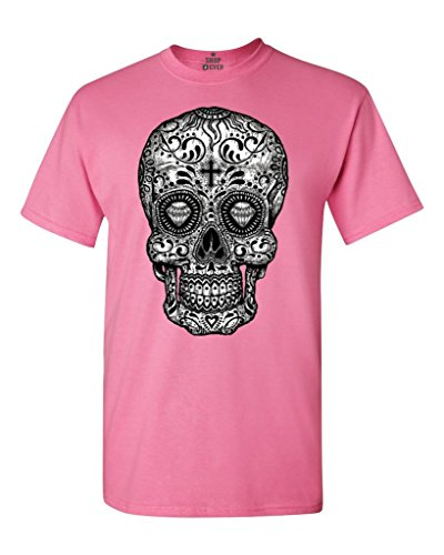 Shop4Ever Sugar Skull Black & White T-Shirt Day of The Dead Shirts XXXXX-LargeAzalea Pink 17037 for $<!--$14.91-->