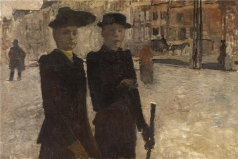 Oil Painting 'George Hendrik Breitner - Women On The Rokin' 20 x 30 inch / 51 x 76 cm , on High Definition HD canvas prints is for Gifts And Bed Room, Home Theater And Study Room Decoration