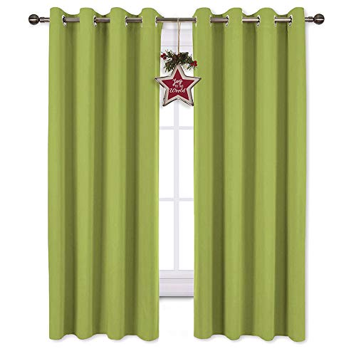 NICETOWN Bedroom Curtains Blackout Draperies - Christmas Decoration Thermal Insulated Solid Grommet Top Blackout Panels/Drapes for Kids Room (1 Pair, 52 x 63 inches in Fresh Green)