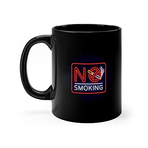(No Smoking Neon Sign Bright Character Icon Luminous Warning Of In An Unauthorized Place Stop Ve Ban Tea Fun Mug Ceramic 11 Oz)