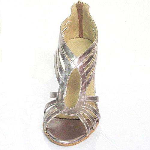 Tda Donna Stiletto Tacco Alto Peep Toe Sintetico Salsa Tango Sala Da Ballo Latino Scarpe Da Ballo Danza Moderna Argento