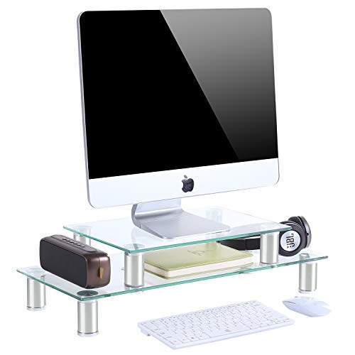 TAVR Multifunction 2 or 1 Tier Variable Assembling Monitor Stand Riser Desktop Shelf Organizers with Height Adjustable for Home Office Clear Tempered Glass,CM2003