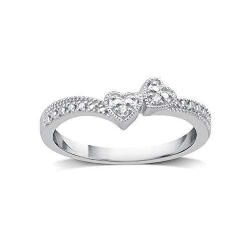DeCarat Diamond Accent Sterling Silver Double Heart Bypass Ring