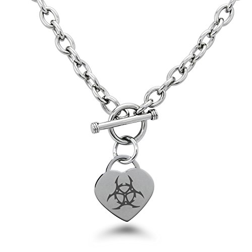 Tioneer Stainless Steel Barbed Wire Biohazard Symbols Heart Charm, Necklace Only