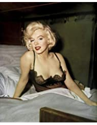 Marilyn Monroe in Some Like It Hot sexy in low cut black neglige as Sugar 8x10 Promotional Photograph