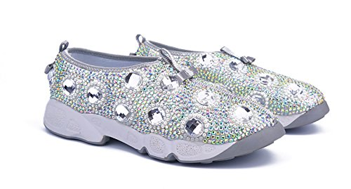 Ma52557 Per Party Fashion Ginnastica Minitoo Scarpe Knot Strass Appartamenti Ladies Da In Comode Argento fS5wqU5