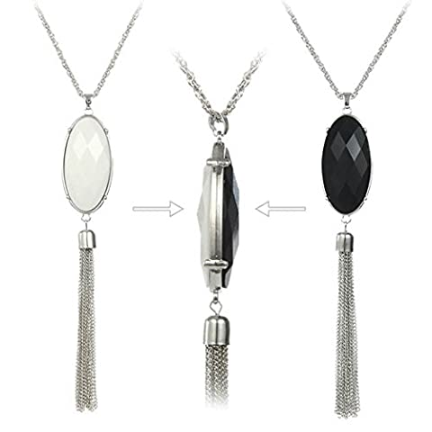 Bohemian Silver Plated Chain Double-Side Oval Stones Tassel Pendant Long Sweater Necklace (Necklaces & Pendants)