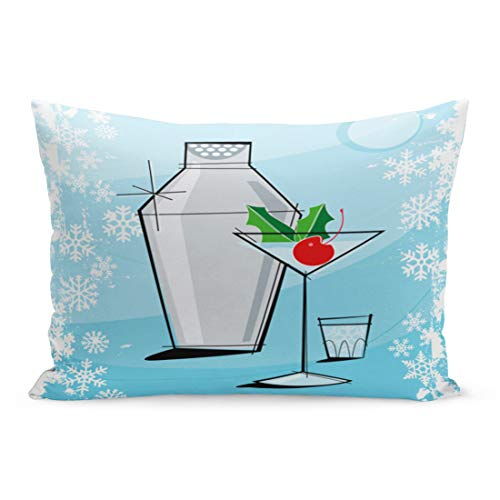 Snow Vodka Queen - Emvency Throw Pillow Covers Retro Holiday Martini Snowflake Each Item is Grouped So Pillow Case Cushion Cover Lumbar Pillowcase Decoration for Couch Sofa Bedding Car Home Decor 20 x 30 inchs