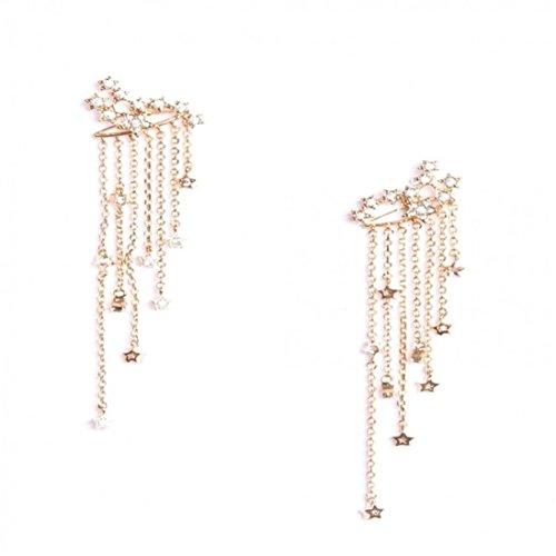 DBolomm Shooting Star Rhinestone Tassel Long Drop Stud Dangle Earrings Gold Silver (Dangling Star Crystal)