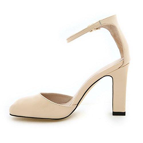 Amoonyfashion Para Mujer Cerrado Dedo Del Pie High-heels Soft Material Sólido Hebilla Sandalias Albaricoque