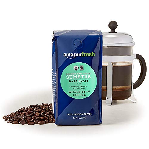 AmazonFresh Organic Fair Trade Sumatra Whole Bean Coffee, Dark Roast, 12 Ounce (Pack of 3)