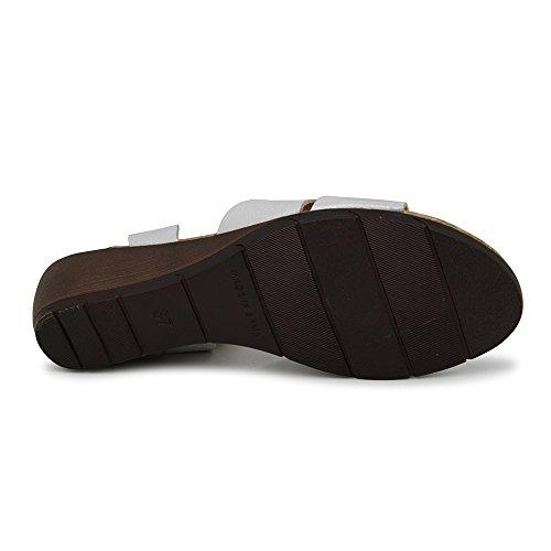 Sandalia Minicuña En Piel Plata Plata