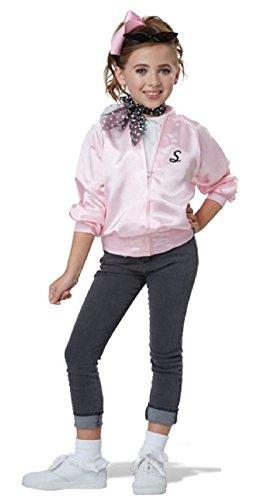 50'S Satin Varsity Jacket Girls Costume Pink -