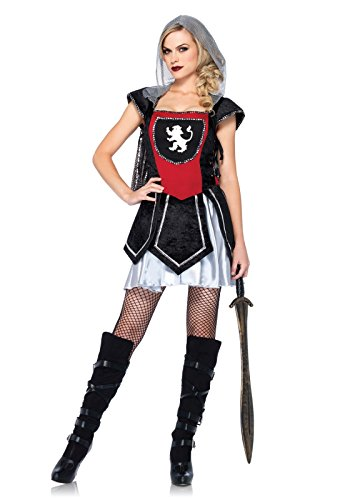 Joan Of Arc Costumes (Leg Avenue Women's Royal Knightess Costume, Black/Red, Small/Medium)