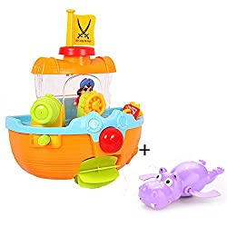 Happy Bathtime Pirate Ship Baby Bathtub Bath Toys with Water Cannon and Boat Scoop,Free with Hippo Bathtub Toy