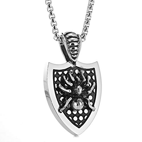 Aooaz Stainless Steel Pendant Necklaces Shield Spider Shaped Necklace for Men ()