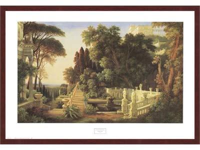 Poster Palooza Framed Italian Villa- 32x24 Inches - Art Print (Walnut Brown Frame)
