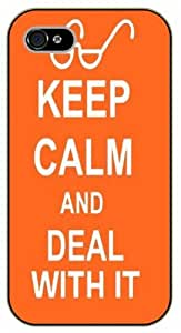 iPhone 4 / 4s Keep Calm and deal with it - black plastic case / Keep Calm, Motivation and Inspiration