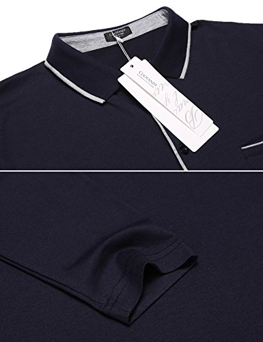 COOFANDY Men's Long Sleeve Polo Shirt Classic Causal Business Slim Fit Cotton Short Sleeve Polo T Shirts,Navy Blue,Large by COOFANDY (Image #5)