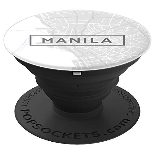 Manila City Philippines Street Map White - PopSockets Grip and Stand for Phones and Tablets