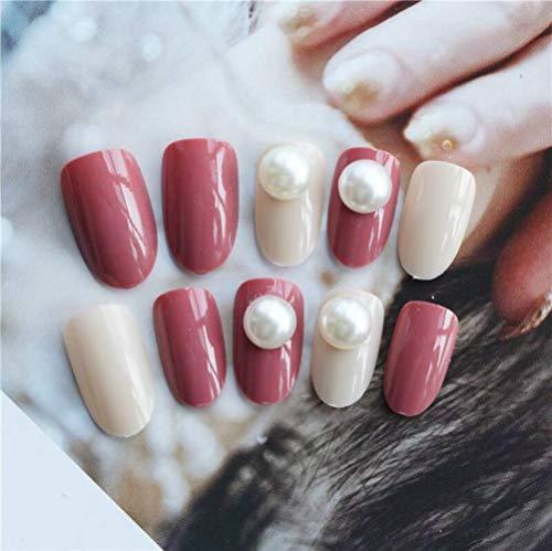 (Ideal Swan 24Pcs Acrylic False Nail Tips Short Fakes Gel Nails Kit Pink Cream Pearl Full Cover Glue Nails Art Set for Women Girls)