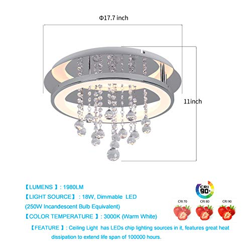 cheap for discount 6ca71 7c2c2 AUDIAN Chandelier Lighting Fixture Ceiling Flush Mount Ceiling Light  Dimmable LED Modern Ceiling Light Fixture K9 Crystal Pendant for Dining  Room ...