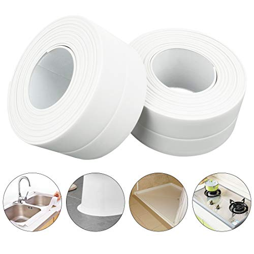 PVC Waterproof Sealing Tapes Pack of 2 Bathtub Caulk Strip Self Adhesive Waterproof Sealing Tape Edge Protector for Kitchen Countertop, Sink, Bathturb, Toilet, Gas Stove and Wall Coner, White