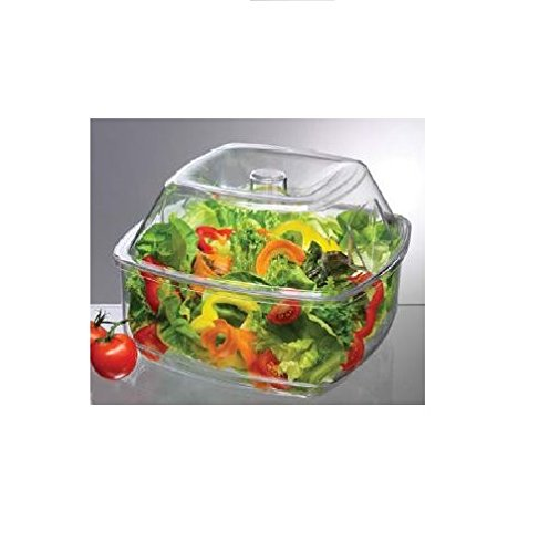 Prodyne Flip-Lid Salad On Ice Bowl with Lid Set, 10'', Clear