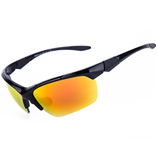 Shieldo Polarized Sports Sunglasses For Men And Women Running Cycling Fishing, Mirrored Integrated Polarized Lens Unbreakable Frame SQS005 - Sunglasses Kourtney