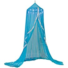 Snowflake Castle Hideaway Bed Canopy Hanging Play Tent for Kids Bedroom - 7' H with 12' Bottom Circumference - Blue