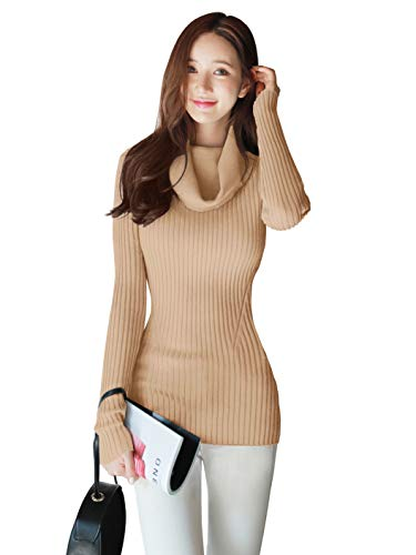 Ribbed Cowl - v28 Women Stretchable Cowl Neck Knit Long Sleeve Slim Fit Bodycon Sweater-XS,Kak