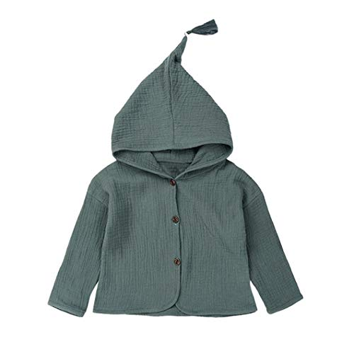 Baby Coat 1-4 Years Old,Infant Toddler Boys Girls Kids Solid Warm Long Sleeve Hooded Jacket Cardigan Outerwear (3-4 Years Old, Green) -