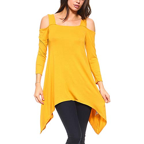 Isaac Liev Flowy Wide Strap Cutout Cold Shoulder Tunic Top (Large, Mustard Gold)