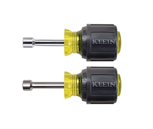 Klein Tools 610M Nut Driver, Stubby Set, Hex Sizes 1/4-Inch and 5/16-Inch, Hollow Shaft, Magnetic Tip, 2-Piece ()