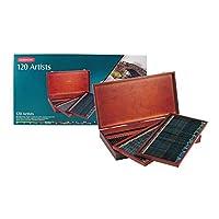Lápices de colores de Derwent Artists, núcleo de 4 mm, caja de madera, 120 unidades (32098)