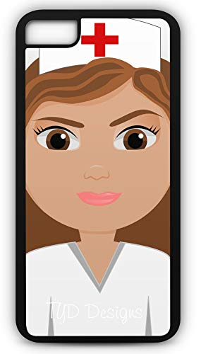 iPhone 8 Case Nurse Nursing Medical Care Hospital Candy Striper Needles Customizable by TYD Designs in Black Rubber ()