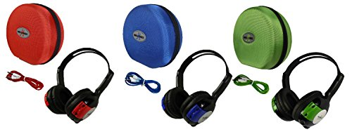 3 Pack Kid Sized Wireless Infrared Universal Car DVD IR Automotive Colored Adjustable 2 Channel Headphones With Case and 3.5mm Auxiliary Cord by Wisconsin Auto Supply