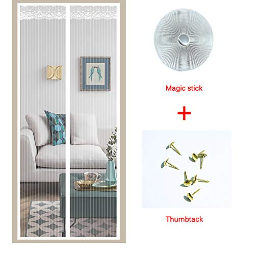 (Fly Screen Door,Magnetic Fly Insect Screen Door Screen Mesh Curtain Fits Door Up to 35 x 82inch (White Lace))