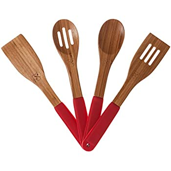 The Kitchen Love Bamboo Utensil Set, Eco-friendly, Naturally Germ-resistant with Hanging Storage Holes and Colorful Silicone Ergonomic Handles (Red)