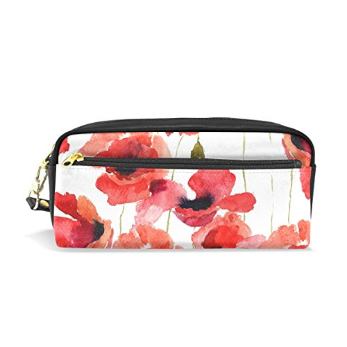 Cooper girl Poppy Flowers Pencil Case Stationery Cosmetic Purse Coin Holder Organizer Bag