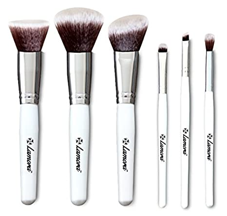 Essential Kabuki Makeup Eye Brush Set - Professional Travel Kit With 6 Eyeshadow Foundation Powder Blush Makeup Brushes - Synthetic Bristles of Premium Quality for Airbrushed Flawless Finish Lamora Beauty