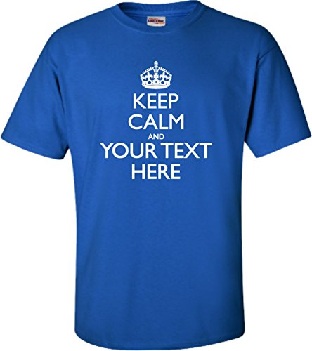 Tee T-shirts Screen Printing - Go All Out Screenprinting Large Royal Blue Adult Personalized Keep Calm and Customizable T-Shirt