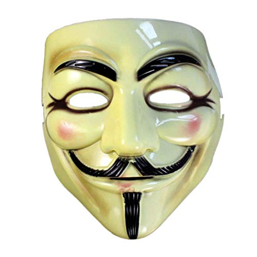 WeiYun Halloween Masquerade Face Mask Costume Cosplay Toy Party Props Fawkes Fancy Dress Party for Vendetta Guy , Durable Plastic V for Vendetta Movie Fans1PC -