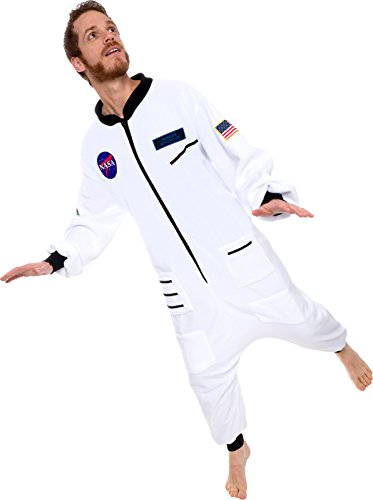 Silver Lilly One Piece Astronaut Pajamas - Adult Space Jumpsuit Cosplay Costume by (White, (Next Womens Onesie)