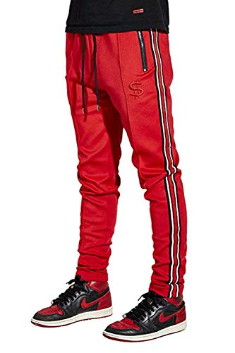 - Cha$e Clothing Red Slim Fit Track Pants for Gym,Outdoor, Sports with Zipper Pockets - Black/White Stripe & Adjustable Drawstring (Red, Small)