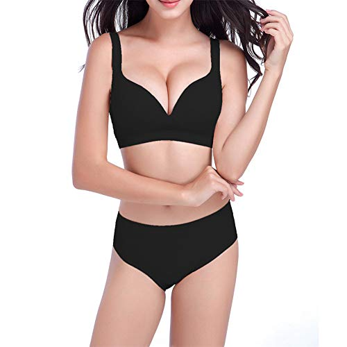 Yaseking Women Sexy Bra, Yoga Adjustable Sports Bra Without Steel Rings Gathered Sports Bra Underwear Set (XL, Black)