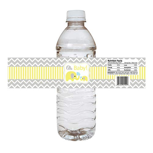 Baby Elephant Water Bottle Labels - Baby Shower Party Drink Stickers in Yellow - Set of -